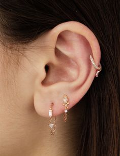 Diamond Delia and Dangle 1 Chain Wrap Traditional Ear Post (Earlobe) - ROSE GOLD Image #model