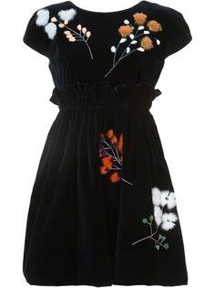 Fendi бархатное платье с отделкой мехом норки