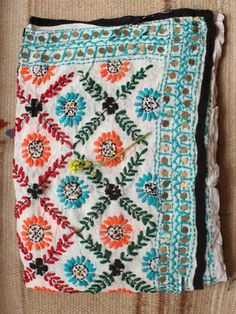 Multicolour zig-zag phulkari handembroidered on Blue Chanderi Dupatta Phulkari Embroidery, Embroidery On Kurtis, Kurti Embroidery Design, Indian Embroidery, Hand Embroidery Stitches, Hand Embroidery Designs, Hand Work Embroidery, Embroidery Flowers Pattern, Kutch Work Designs