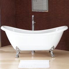 "69"" Abbott Double Slipper Acrylic Clawfoot Tub - (Brushed Nickel Lion Paw Feet / No Tap Holes)- no overflow CODE: 109373"