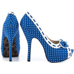 Bettie Page Women's Gwendolyn - Blue White ($70) ❤ liked on Polyvore featuring shoes, pumps, bettie page, platform stiletto pumps, platform shoes, high heel platform pumps, high heel platform shoes and multi-color pumps