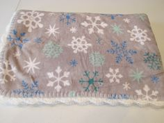 374 - Snowflakes in Gray Soft Fleece Christmas Blanket by MonkeyMindCreations on Etsy