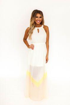 Color Block Pleated Halter Maxi Dress- Cream - Dottie Couture Boutique