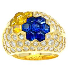 French Diamond, Blue & Yellow Sapphire Dome Ring