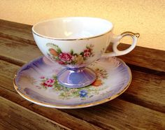 Lusterware Teacup Royal Crown Footed Teacup Saucer Set, Japanese China Tea Cup and Saucer, Japan Cup, Iridescent Pearl Lusterware, Roses