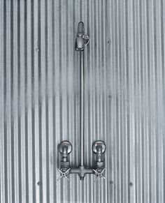corrugated metal shower