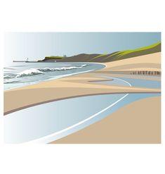 Sandsend Beach to Whitby – (landscape) Gig Poster, Beach Landscape, Watercolor Landscape, Landscape Design Program, Gravure Illustration, Dining Room Art, Minimalist Landscape, Landscaping Near Me, Paisajes