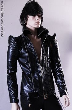Jacket Black Leather ette Biker Mens  Custom Chrisst by chrisst, $680.00