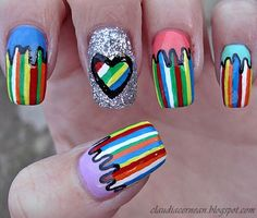 Dripping nails - http://claudiacernean.blogspot.ro/2013/03/unghii-cu-dungi-colorate-stripe-lines.html