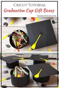 DIY Graduation Cap Gift Boxes Looking for a fun Graduation gift idea? How about these fun Graduation Cap Gift Boxes Made with a Cricut filled with money, candy & confetti? Graduation Desserts, Best Graduation Gifts, Graduation Party Centerpieces, Graduation Party Decor, Grad Gifts, Diy Gifts, Grad Parties, Graduation Ideas, Popsicle Stick Crafts