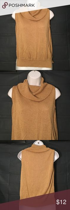 Liz Claiborne Med Gold Metallic Top Liz Claiborne size medium very nice gold metallic sleeveless sweater with cowl neck ..BUNDLE 4 or More SAVE 30%!!. Liz Claiborne Sweaters Cowl & Turtlenecks