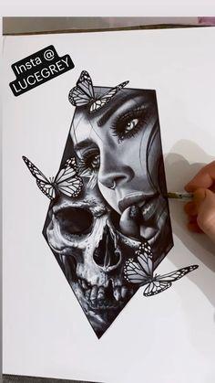 Angel Tattoo Designs, Skull Tattoo Design, Tattoo Design Drawings, Tattoo Sleeve Designs, Skull Tattoos, Tattoo Sketches, Leg Tattoos, Body Art Tattoos, Skull Butterfly Tattoo