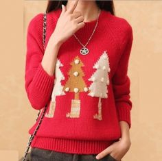womens Christmas sweater for winter crew neck Christmas tree sweaters