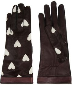 Burberry Prorsum Heart-print calf hair gloves