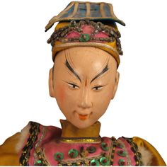 """17"""" Early 1900s Chinese Opera Doll in Gold Silk"""