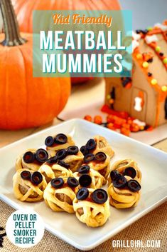 "These Kid Friendly ""Mummy Meatballs"" made from frozen meatballs rolled in crescent dough are an easy, fun way to make ""Spooky"" food for Halloween. Alternately, these are great for a Minion themed party. Great to make on Pellet smoker!"