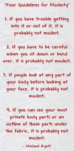 Modesty Guidelines, a good guide for ALL females....