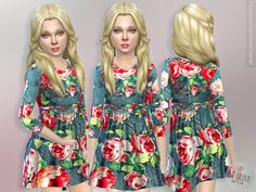 The Sims Resource: Heather Grey Rose Dress by lillka • Sims 4 Downloads