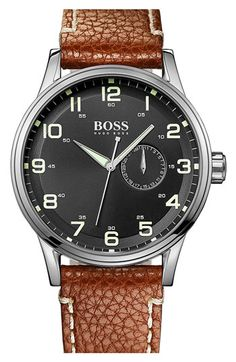 BOSS HUGO BOSS Round Leather Strap Watch, 44mm