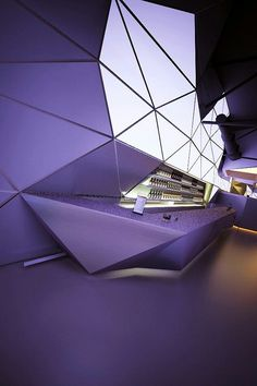 1 Hall Design, Stage Design, Office Interior Design, Interior And Exterior, Gym Interior, Geometric Origami, Futuristic Interior, Bars And Clubs, Counter Design