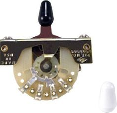 "Ernie Ball 3-Way Strat and Tele Pickup Selector Switch by Ernie Ball. $13.99. ""Strat"" style 3-way pickup selector switch that also fits ""Tele"" style electric guitars. Includes white and black switch tips and mounting screws.. Save 23%!"