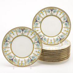 Vintage Minton Bone China Luncheon Plates, England, Circa 1912 - 1950. Fine China Patterns, Antique Dishes, China Porcelain, Ceramic Art, Bone China, Bones, Tea Pots, Glass Art, Decorative Plates
