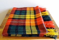 Colorful Plaid Wool Throw/Blanket by MarketHome on Etsy, $28.00