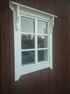 Bay Window Exterior, Exterior Trim, Norwegian House, Swedish House, Brick Molding, Door Molding, Cottage Windows, Red Houses, Barn Siding