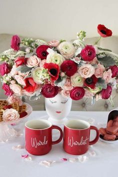 The floral decorations at this Valentine's Day breakfast are gorgeous!! See more party ideas and share yours at CatchMyParty.com #catchmyparty #partyideas #valentinesday #floraldecorations