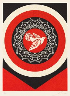 """Shepard Fairey (b. American ) """"Obey Dove Red"""", Screenprint, 24 x 18 in., Edition of Pencil signed and numbered Shepard Fairey Artwork, Shepard Fairey Obey, Shepard Fairy, Mandala, Peace Dove, Famous Art, Art Archive, Illustrations, Print Artist"""