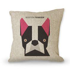 Pop art animal, pillow cases, BOSTON TERRIER