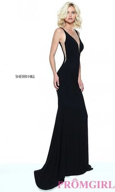 bde517641af Image of Sherri Hill low v-neck prom dress with sheer panels. Style