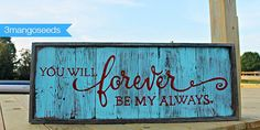 Rustic Wood Sign  Turquoise/Red FOREVER my by mangoseedmarketplace, $70.00