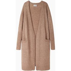 Acne Studios Raya Open Cardigan (6.900 ARS) ❤ liked on Polyvore featuring tops, cardigans, outerwear, jackets, sweaters, long tops, long slouchy cardigan, long open front cardigan, open cardigan and long beige cardigan