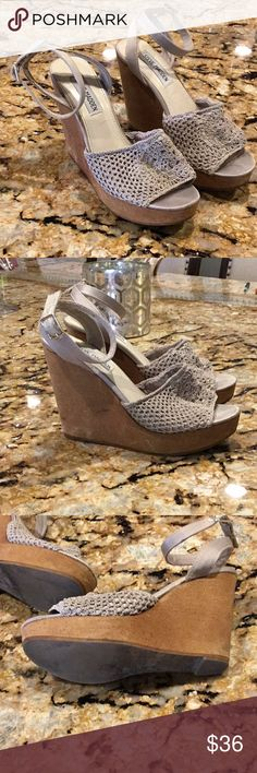 Steve Madden Wedges - worn a few times, minor scratches on the side as seen on photos - about 4-5 inches tall, but super light material and easy to walk in. - crochet knit design - size 6 - open to offers 💓 Steve Madden Shoes Wedges