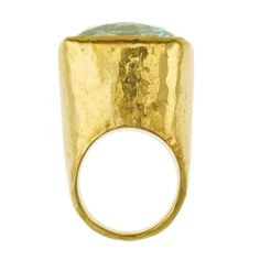 Malika Aquamarine Gold Tibetan Ring | From a unique collection of vintage fashion rings at https://www.1stdibs.com/jewelry/rings/fashion-rings/