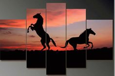canvas framed hand paint 5 pieces Africa horse landscape oil painting wall art group canvas painting