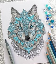"""""""Wolf drawing done with prismacolors, copics and some stabilos! Really like…"""