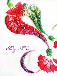 Picssr: nigarhikmet's most interesting photos Jacobean Embroidery, Tambour Embroidery, Silk Ribbon Embroidery, Embroidery Patterns, Hand Embroidery, Lesage, Ribbon Art, Flower Making, Fabric Art