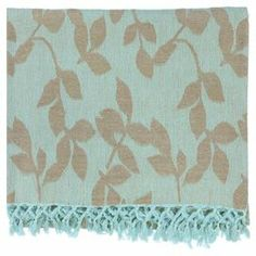 "Throw with a leaf motif and fringed trim.    Product: ThrowConstruction Material: CottonColor: Aqua and tanFeatures: Made in IndiaDimensions: 50"" x 70""Cleaning and Care: Blot stains"