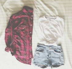 Denim shorts, white t, plaid shirt