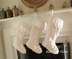 Christmas Stocking White Chenille Vintage Number 4 by RedDoorHome
