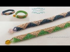 How to make a Springy Beaded Bracelet. Beads Jewelry Making. - How to make a Springy Beaded Bracelet. Beads Jewelry Making. Jewelry Making Tutorials, Beading Tutorials, Jewellery Making, Beading Patterns, Beaded Jewelry, Beaded Bracelets, Making Bracelets With Beads, Ear Jewelry, Fabric Jewelry