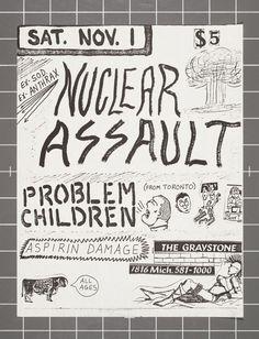 Nuclear Assault / Problem Children / Aspirin Damage flyer Graystone Detroit