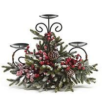 Snowy pine candleholder with red berries and pine cones on a metal form that holds 3 candles. X X 1 set of Christmas Tablescapes, Christmas Table Decorations, Christmas Candles, Centerpiece Decorations, Rustic Christmas, Christmas Holidays, Christmas Crafts, Christmas Ornaments, Christmas Flower Arrangements
