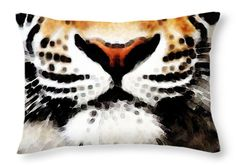 "Tiger Art - Burning Bright Throw Pillow 20"" x 14"""