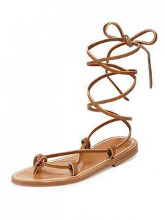 K. Jacques Bikini Leather Gladiator Sandals in tan