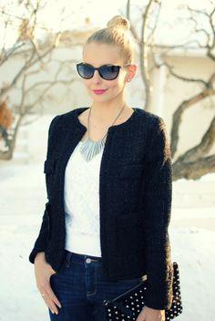#eshakti black tweed jacket