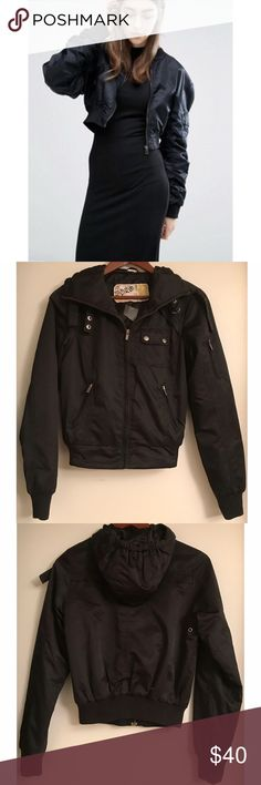 Topshop Black Bomber Jacket From Topshop's Moto line. Awesome jacket, new with tag. Material is polyester. Size on tag is Euro 36 / UK 8, this would fit US size Small to Medium (US Size 2-4). Topshop Jackets & Coats