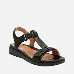2c994393877e Un Haywood Black Leather T Strap Sandals